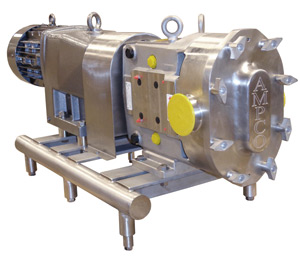 Ampco ZP Series Clean-In-Place Piston Pump on PD Tubular Steel Stand