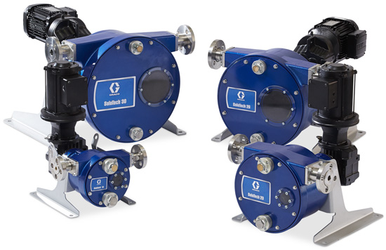 All four members of the Graco SoloTech peristaltic hose pump family
