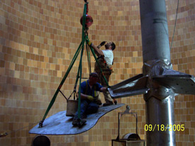 Installing a blade on the 75-foot agitator shaft